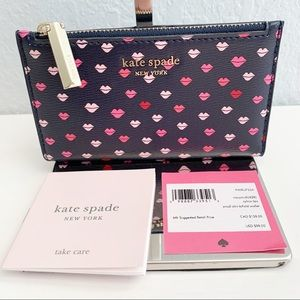 Kate Spade ♠️ Sylvia Lips Small Slim Bifold Wallet